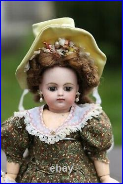 Rare Antique French doll by Gaultier Block Letter Bebe 1 nice cabinet size