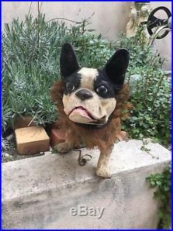 Rare Antique Growling French Bull Dog Pull Toy Automaton Paper Mache