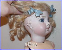 Rare Find Antique Size 10 Over EJ Jumeau Bebe French Bisque 20 Inch Doll Blue