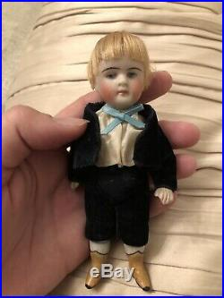 Rare Unusual 5.5 Antique Kestner All Bisque Boy Doll With Yellow Boots