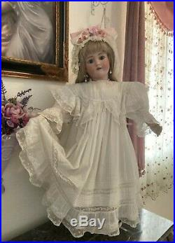 STUNNING Antique French Lace Dress & Hat For Large Jumeau, Bru or German Doll