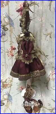 Silk Polichinelle Dress Hat Shoes Mask Antique French for Jumeau Bru Doll