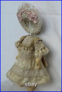 Silk dress and hat for antique baby doll 12