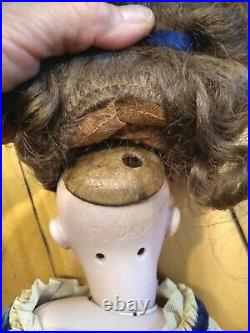 Simon & Halbig Doll Bisque Socket Head, Leather & Cloth Body 1039 18 Antique