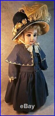 Stunning 18 inch Antique Closed Mouth French Tete Jumeau Bebe Doll Blue PW Eyes