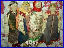 Sweet antique 1910-20s bisque sockethead RUSSIAN girl dolls in all orig. Costume