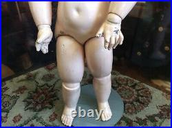 Tete Jumeau Bebe #10 Red Stamp On Neck-Original Stamped Wood Composition Body