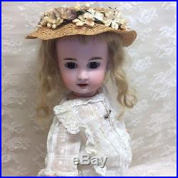 Tiny 13 Antique Jumeau French Bisque Doll In Antique Dress