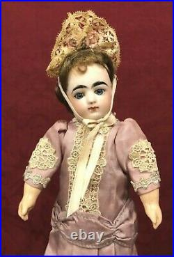 Tiny Antique French Bisque Doll Closed Mouth Block Letter FG Size 1