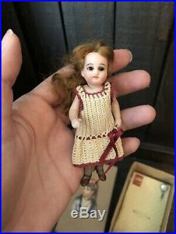 Tiny Antique Rare 4.25 French Market All Bisque Mignonette Doll Gray Stockings