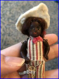 Tiny Rare 3.25 All Bisque Glass Eyes Black Mignonette Antique Doll