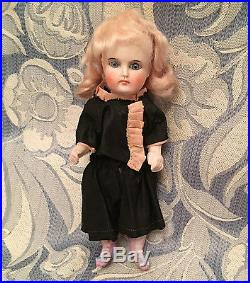 Unusual Small 6 Solid Dome Antique German Doll with Bisque Limbs &Dowel Jtd Body