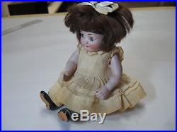 WAY CUTE 7 Antique Googly German All Bisque Jointed Doll Sleep Eyes Marked #16